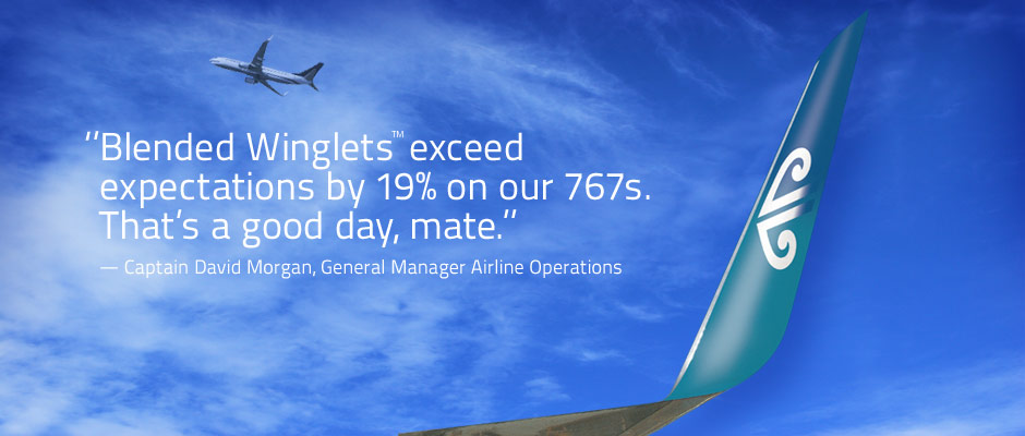 Blended Winglets exceed expectations by 19% on our 767s. That's a good day, mate.