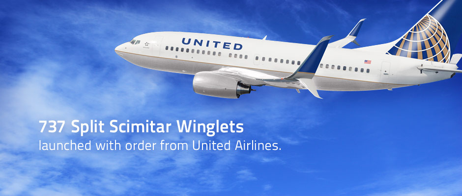 Aviation Partners Boeing launches 737 Split Scimitar Winglet Program with order from United Airlines.
