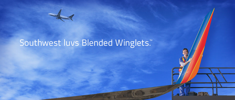 Southwest luvs Blended Winglets.