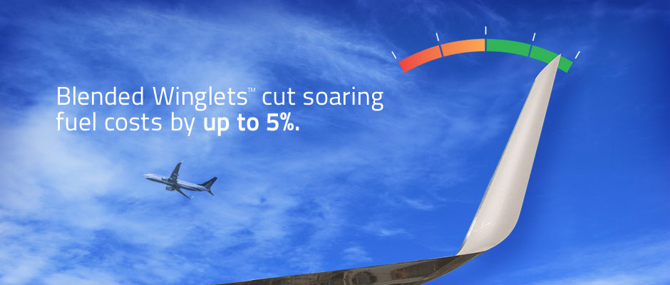Blended Winglets cut soaring fuel costs by up to 5%.